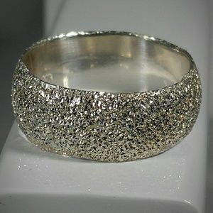 Sparkly Finish Sterling Silver Fashion Ring